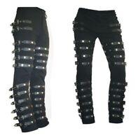 Men Gothic Bad Concert Black Metal Pant Rock Hard Trouser Heavy /Tripp Pants