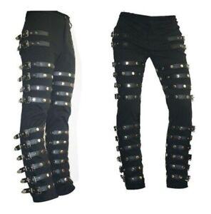 Michael Jackson Punk Classic Rivet BAD Concert Black Metal Rock Pants Trousers