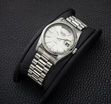 Vintage Bulova Super Seville Automatic Day Date White Silver Duble Mens Watch