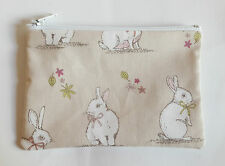 Woodland Bunnies Rabbit Taupe Fabric Handmade Zippy Coin Purse Storage Pouch