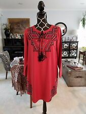 THML Anthropologie Long Sleeve Embroidered Tassels Peasant Boho Dress Sz XS NEW