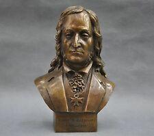 8'' Italian Great Musician Niccolo Paganini Bust Bronze Statue