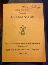 Safety First Rules Axemanship Vintage Scout Rules Card