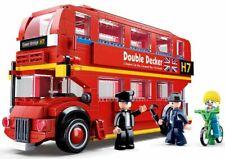 City Red London Bus 21cm c/w Figures Bicycle Construction Bricks kit 382pcs Uk