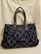 COACH F20056 ASHLEY OP ART LEATHER NAVY/SILVER SATEEN SATCHEL BAG $398