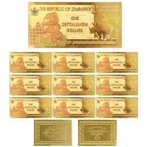 ONE ZETTALILION DOLLAR Zimbabwe 24k Gold Foil Banknote 10pcs Collections