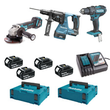 Makita Trousse 18V Lithium Perceuse Meuleuse Perforateur 4 Batt. Garantie Italie