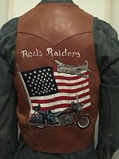 Red's Raiders Hand Painted WWII B17 Bomber Motorcycle Club Leather Vest Harley