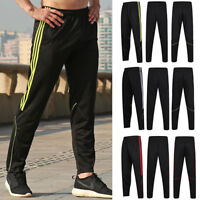 Mens Track Jogger Pants Slim Sweatpants Running Sports Side Stripe Bottoms X240