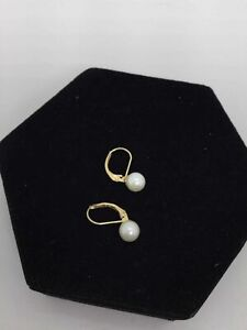 14K Yellow Gold Pearl Lever Back Earrings