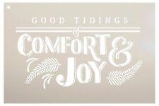 Good Tidings Of Comfort & Joy Stencil by StudioR12 | Season's Greetings Word.