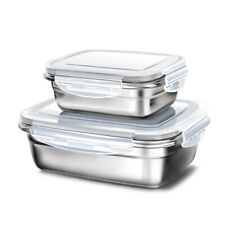 2PCS Stainless Steel Lunch Box Snack Food Container Bento Box Fresh-Keeping Box