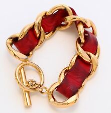 Vintage Chanel Gold Tone and Red Leather Link Bracelet. Purchased in the 1980s