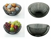 Black Double Wall Mesh Fruit Bowl Dinning Table Decorative Vegetable Airy Basket
