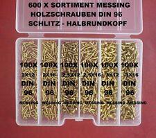 600 X  SORTIMENT HOLZSCHRAUBEN 2,0 /2,5 /3,0 MM MESSING DIN 96 MIT SCHLITZ + BOX