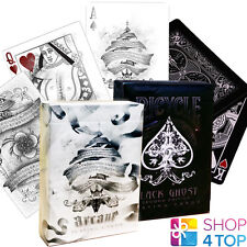 2 DECKS BICYCLE ELLUSIONIST 1 GHOST BLACK 2ND AND 1 ARCANE WHITE PLAYING CARDS