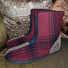 SOREL THICK WARM BOOT SLIPPERS RED PLAID MENS 10 UK9.5 EUR 44 LINERS