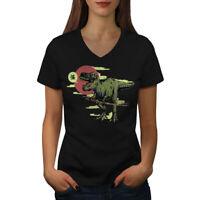 Wellcoda Dinosaur Oldschool Womens V-Neck T-shirt, Raptor Graphic Design Tee