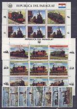 Eisenbahn, Railways - Paraguay - LOT auf 7 Seiten ** MNH