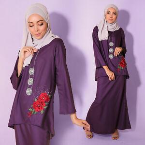 New Women Muslimah Cotton LongSleeve Dark Lavender Kurung Embroidery PlusSize