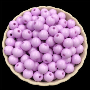 40Pcs 8mm Solid Color Acrylic Beads DIY Findings Jewelry Making Single Hole