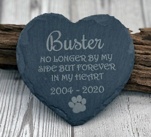 Personalised Quote Pet Dog Heart Slate Gravestone Memorial Plaque Grave Marker