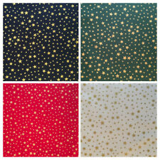 Christmas Fabric Per Metre Xmas Gold Stars Sewing Craft Festive Advent Noel