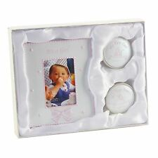 PINK IT'S A GIRL PHOTO FRAME WITH 1ST TOOTH AND 1st CURL - NEW BABY GIFT