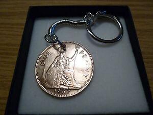 Old Penny 1952 - 1967 (Elizabeth 2) 1D Keyring - Gift Box - Free UK Postage