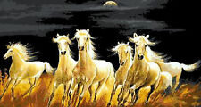 ESQUEMA PARA PUNTO DE CRUZ GRAFICO CABALLOS BLANCOS HORSES CROSS STITCH PATTERN