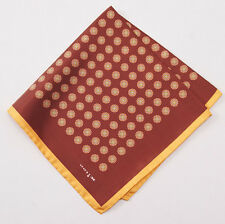 New $215 KITON NAPOLI Rust-Gold Floral Medallion Print Silk Pocket Square