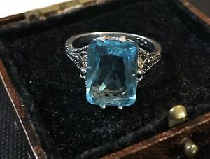 Vintage Style Jewellery Blue Topaz Ring Silver Plated