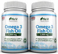 Omega 3 1000mg Fish Oil High Strength 365 x 2 bottles DHA ,EPA 100% Guaranteed