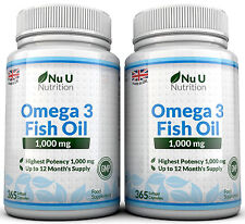 Nu U Omega 3 Fish Oil 1000mg 2 Bottles Omega 3 6 9 DHA + EPA 100% MONEY BACK
