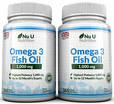 Omega 3 Fish Oil 1000mg 2 Bottles Omega 3 6 9 DHA + EPA 100% MONEY BACK by Nu U