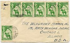 GOLD COAST BISEASI KG6 HALFPENNY x 6 FRANKING to CHICAGO