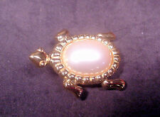 Trifari Turtle Pin Gold Tone & Center Pearl Extra Nice