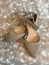 Monique Lhuillier Silver Ankle-strap Flats Size 40/US size 10