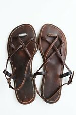 New! Girl's Dark Brown, Leather Flats - Strappy Sandals with Buckle
