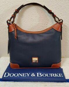 New $268 Dooney & Bourke Midnight Blue Pebble Grain Leather Hobo Bag R924MD