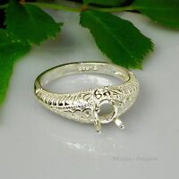 (4mm - 7mm) ROUND Engraved Shank Sterling Silver Pre-Notched RING Setting