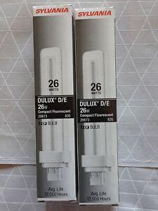 NEW Sylvania 20673 Compact Fluorescent 4 Pin Double Tube 3500K 26 watt 2 pack