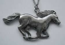 Chain Necklace #1101 Pewter RUNNING HORSE (55mm x 29mm)