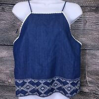 J By J.O.A. Womens Size Large L Crop Top Chambray Denim Open Back NEW NWT