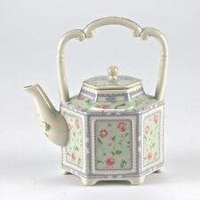 "Vintage Style Pink & Green Porcelain Teapot Shabby Chic Floral Mark 6"" 15cm"