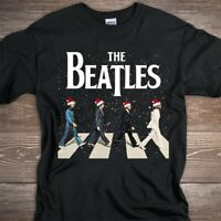zThe Beatles Abbey Road Christmas Black T-shirt