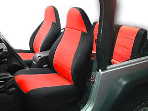 Jeep Wranglar TJ 2003-2006 Wetsuit Neoprene Seat Cover Set: Front & Rear- Red