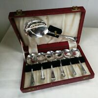 vintage cased set silver plated soup spoons  plus server made in England EPNS