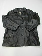 DANIER LEATHER J2926 Men Size XL Everyday Genuine Leather Buttoned Black Jacket