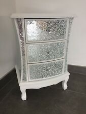 Pair Of Modern White Crackle Mirrored Glass 3 Drawer Bedside Cabinets Tables